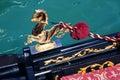 威尼斯式详细资料的长平底船 库存照片