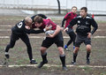 活动球员橄榄球 库存图片