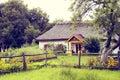 фасонируемое изображение хаты старое село Стоковое Изображение RF