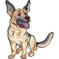 品种动画片狗德国牧羊犬 免版税库存图片