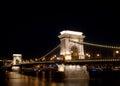 布达佩斯铁锁式桥梁晚上 库存照片