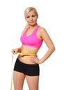 有措施磁带的健身女孩。测量她的腰部的美丽的白肤金发的少妇被隔  免版税库存照片