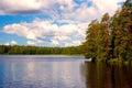 яркое лето озера поля Стоковое фото RF