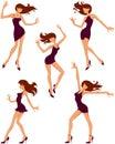 силуэты девушок танцы Стоковое Изображение RF