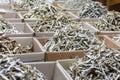 出售的干鲥鱼鱼在市场上 免版税库存照片