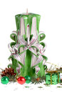 与手工制造蜡烛的圣诞节安排 免版税库存照片