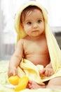 逗人喜爱婴孩的浴 免版税库存图片