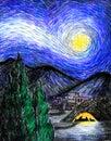满天星斗伯利恒的晚上 库存照片