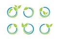 Ο κύκλος αφήνει το λογότυπο οικολογίας, σύνολο σφαιρών νερού εγκαταστάσεων του στρογγυλού διανυσματικού σχεδίου συμβόλων εικονιδί