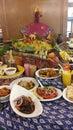赖买丹月自助餐传播 免版税图库摄影