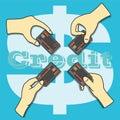 χέρια που κρατούν την πιστωτική κάρτα Στοκ φωτογραφία με δικαίωμα ελεύθερης χρήσης