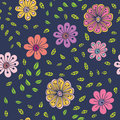 与风格化手拉的花和叶子的无缝的样式 图库摄影