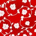 模式红色玫瑰色莎丽服无缝的白色 免版税图库摄影