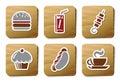 纸板快餐图标系列 免版税库存图片