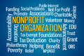 Nonprofit organization word cloud on blue background Royalty Free Stock Image