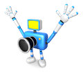 Nonsense blue camera character stretched out both hands create d robot series Stock Images
