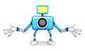 Nonsense blue camera character stretched out both hands create d robot series Stock Photo