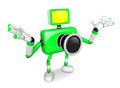 Nonsense green camera character stretched out both hands create d robot series Royalty Free Stock Photo