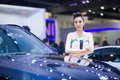 Nonthaburi december unidentified modelling posted with bmw x m d display at the th thailand international motor expo on Royalty Free Stock Photos