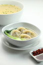 Noodle a bowl of dumpling with soup Stock Image