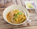 Noodle in chicken curry soup  (Kao Soi Kai ), Thai food Royalty Free Stock Photo