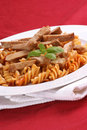 Noodle and organic pork goulash Royalty Free Stock Image