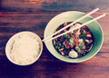 Noodle and rice old vintage retro style with filter effect Stock Images