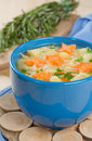 Noodle soup in a blue cup Royalty Free Stock Image