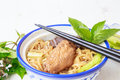 Noodle soup with chicken asia food Royalty Free Stock Photo