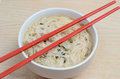 Noodle soup hot in a bowl with chopsticks Royalty Free Stock Image