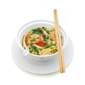 Noodle soup mi goi with fungus on white Stock Photography