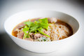 Noodles with beef thailand style and vegetables Stock Photo