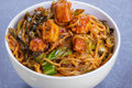 Noodles close up with szechuan tomato sauce chicken and vegetables Royalty Free Stock Images