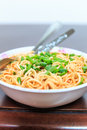 Noodles cup eat colorful in a bowl to Royalty Free Stock Photo