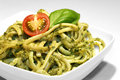 Noodles with pesto Royalty Free Stock Photo
