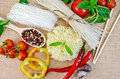 Noodles rice different with vegetables on sacking Royalty Free Stock Photo