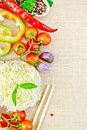 Noodles rice with vegetables stranded on sacking Royalty Free Stock Photo