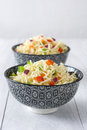 Noodles and vegetables in a bowl Royalty Free Stock Photo