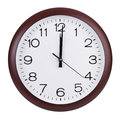 Noon on the dial of the round clock Royalty Free Stock Photo