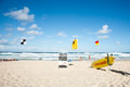 Noosa beach lifeguard station with denoting conditions and restrictions at on march Royalty Free Stock Image