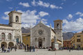 Norcia in umbria piazza san benedetto der umbrischen kleinstadt Royalty Free Stock Photo