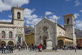 Norcia in umbria piazza san benedettoin the umbrian town of Royalty Free Stock Images