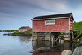 Nordic houses fisherman shacks raised on piles by the sea Stock Images