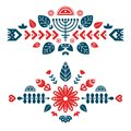 Nordic ornaments, folk art pattern. Two decorative composition.