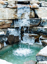 Nordic outdoor cold water cascade during the winter Stock Image