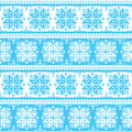 Nordic seamless christmas blue pattern winter snowflakes background scandynavian kntting style Royalty Free Stock Photo