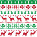 Nordic seamless pattern with deer and christmas tree winter red green background scandynavian kntting style Stock Photos