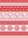 Nordic style and inspired by Scandinavian Christmas pattern illustration in cross stitch, in red and white including Robin Royalty Free Stock Photo
