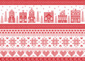 Nordic style and inspired by Scandinavian cross stitch craft merry Christmas pattern in red and white including winter wonderland