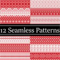 12 Nordic style vector patterns inspired by Scandinavian Christmas, festive winter seamless pattern in cross stitch with heart Royalty Free Stock Photo
